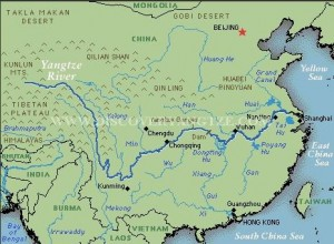 This is an image of a map of the Yangtze River, showing its course and the area covered.